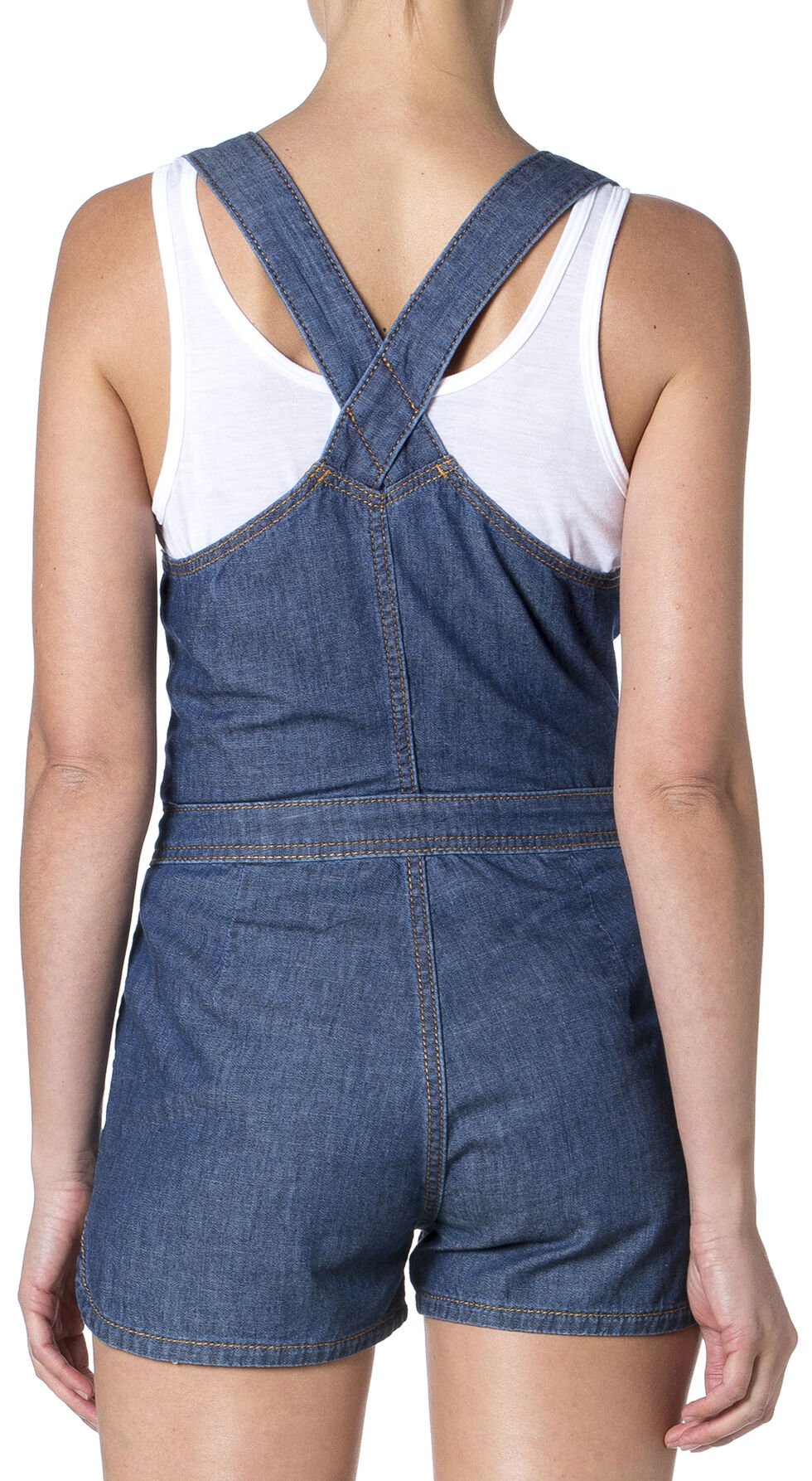 Miss Me Women's Keepsake Denim Romper, Denim, hi-res