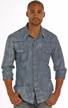 Rock & Roll Cowboy Men's Blue Chambray Dobby Solid Shirt , Blue, hi-res