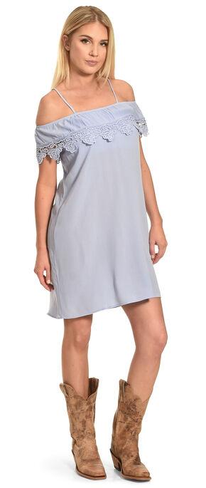 Jody of California Women's Lace Trim Cold Shoulder Dress, Blue, hi-res