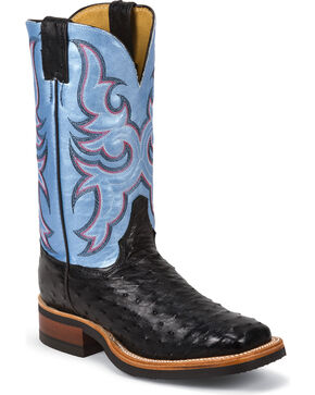 Justin AQHA Full Quill Ostrich Cowgirl Boots - Square Toe, Black, hi-res