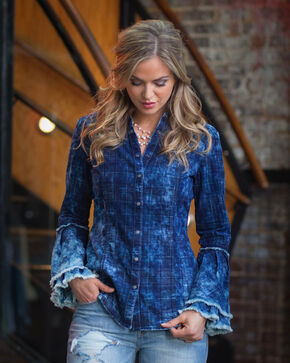 Ryan Michael Women's Midnight Tiered Sleeve Shirt, Indigo, hi-res