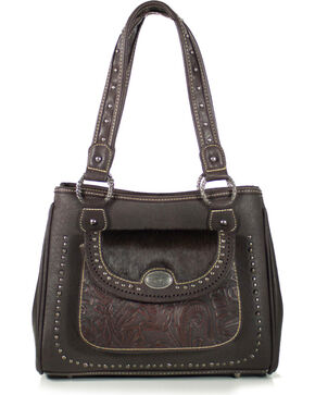 Trinity Ranch Women's Tooled Hair On Shoulder Bag, Mauve, hi-res