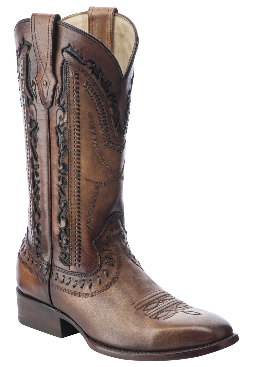 Corral Laser Cut Whip-Stitch Cowboy Boots - Square Toe, Tan, hi-res