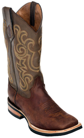 Ferrini Men's French Calf Leather Cowboy Boots - Square Toe, Chocolate, hi-res
