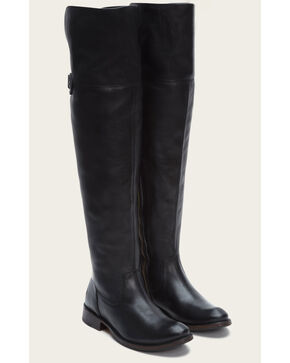 Frye Women's Black Leather Shirley OTK Tall Boots - Round Toe , Black, hi-res