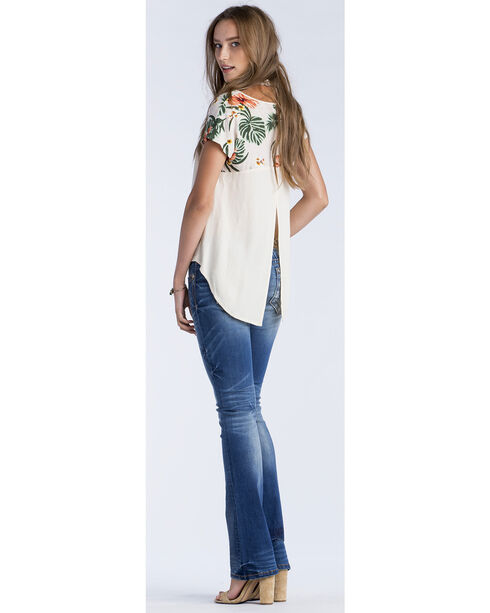 Miss Me Women's Taupe Tropical Printed Shoulder Short Sleeve Top, Taupe, hi-res