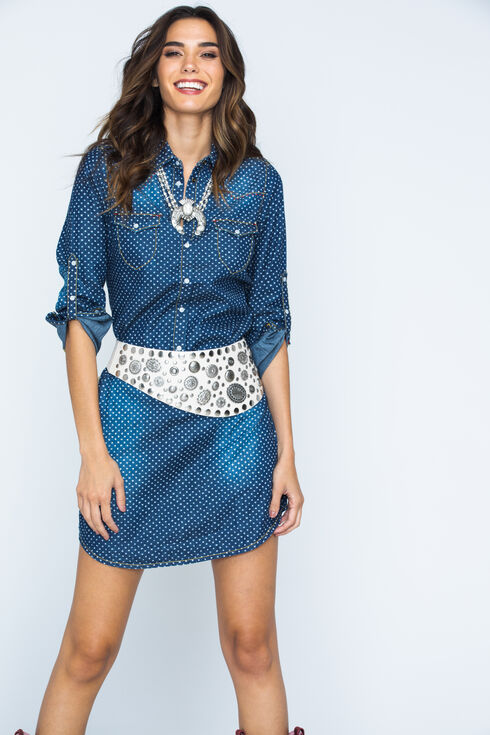 Ryan Michael Women's Indigo Star Print Shirt Dress, Indigo, hi-res