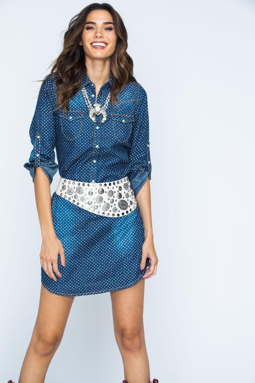Ryan Michael Women's Indigo Star Print Shirt Dress, Indigo, hi-res