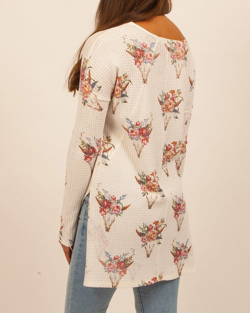 Moa Moa Women's Floral Longhorn Thermal, Cream, hi-res