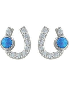 Montana Silversmiths Women's Lightfoot Horseshoe Earrings, Silver, hi-res