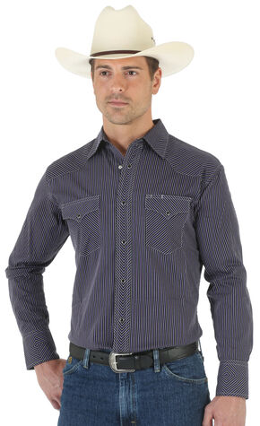 Wrangler Men's Silver Edition Black Dobby Shirt, Black, hi-res