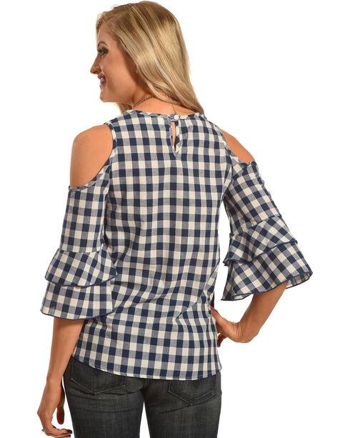 Ces Femme Women's Plaid Cold Shoulder Top, Teal, hi-res