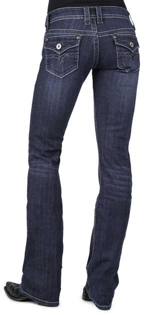Stetson Women's 818 Dark Rinse Rhinestone Rear Flap Bootcut Jeans - Plus, Denim, hi-res