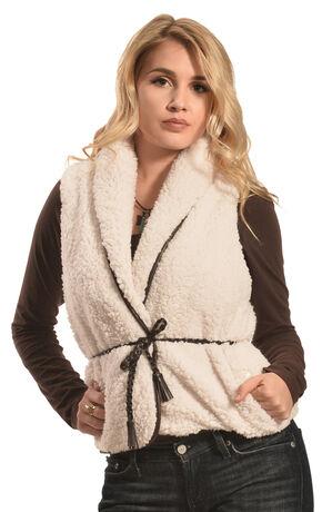Derek Heart Women's Sherpa Belted Vest , Cream, hi-res