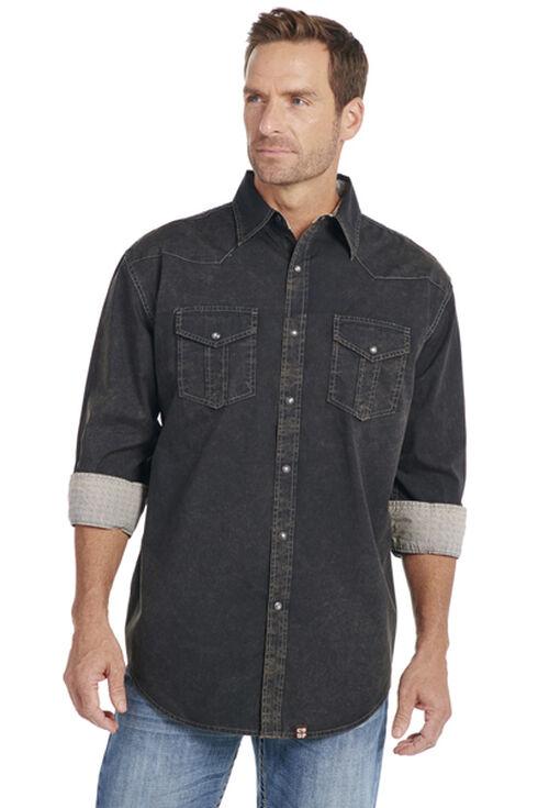 Cowboy Up Men's Black Embroidered Yoke Solid Shirt, , hi-res