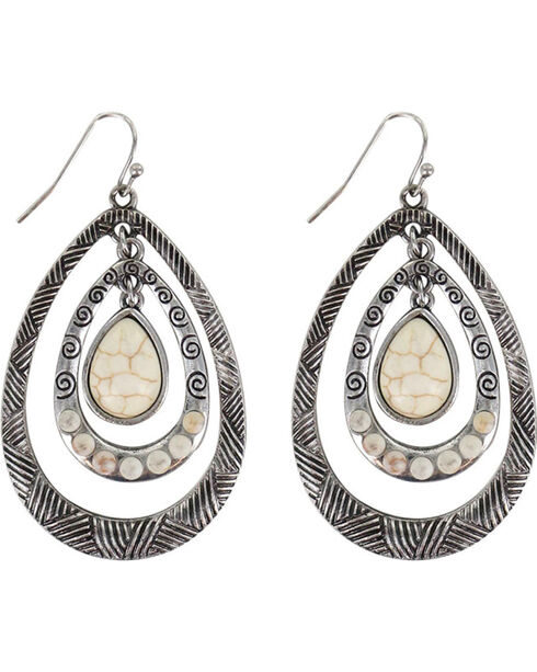 Shyanne Women's Layered Teardrop Earrings , Silver, hi-res