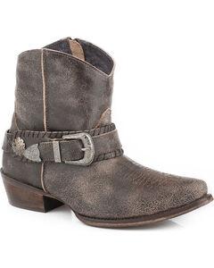 Roper Women's Brown Belt It Strap Short Boots - Pointed Toe , Brown, hi-res