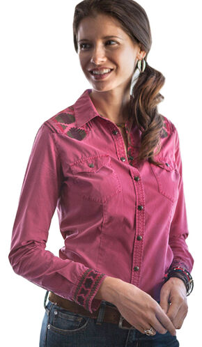 Ryan Michael Women's Samantha Aztec Embroidered Shirt, Berry, hi-res