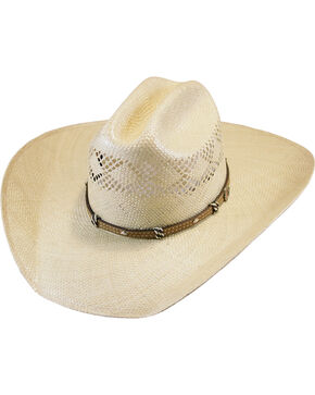 Justin Natural 20X Crest Straw Hat , Natural, hi-res