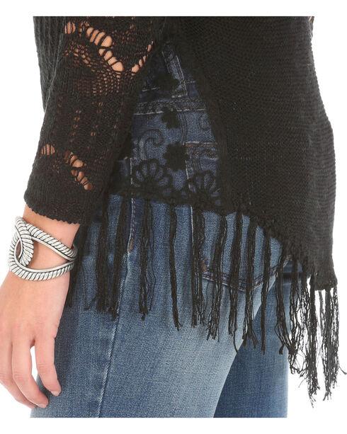 Wrangler Women's Crocheted with Fringe Sweater, Black, hi-res