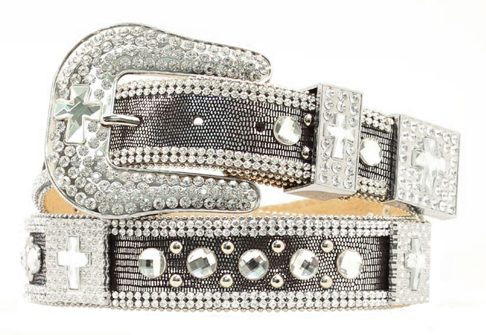 Nocona Rhinestone Cross Concho Bling Belt, Black, hi-res