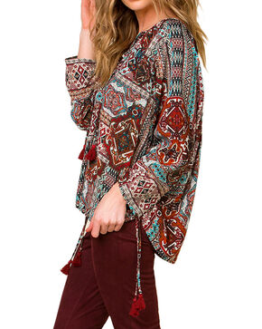 Miss Me Women's Take a Chance Long Sleeve Peasant Top, Burgundy, hi-res