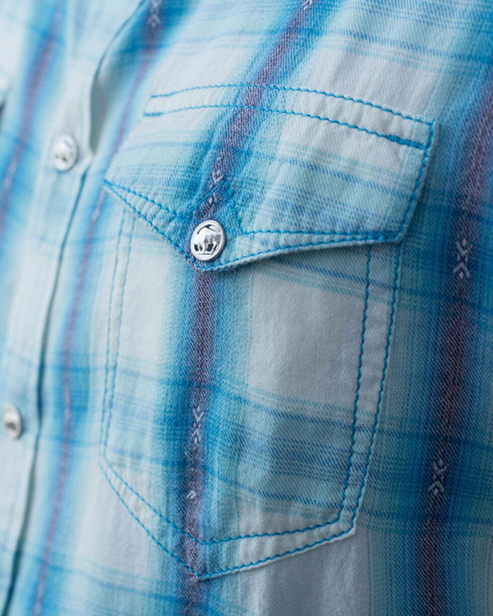 Ryan Michael Men's Short Sleeve Ombre Plaid Shirt, Blue, hi-res