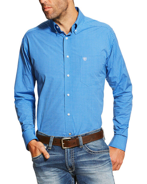 Ariat Men's Blue Andy Performance Long Sleeve Shirt - Tall , Blue, hi-res