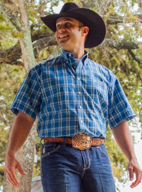 Cinch Men's Blue One Pocket Plaid Shirt , Blue, hi-res