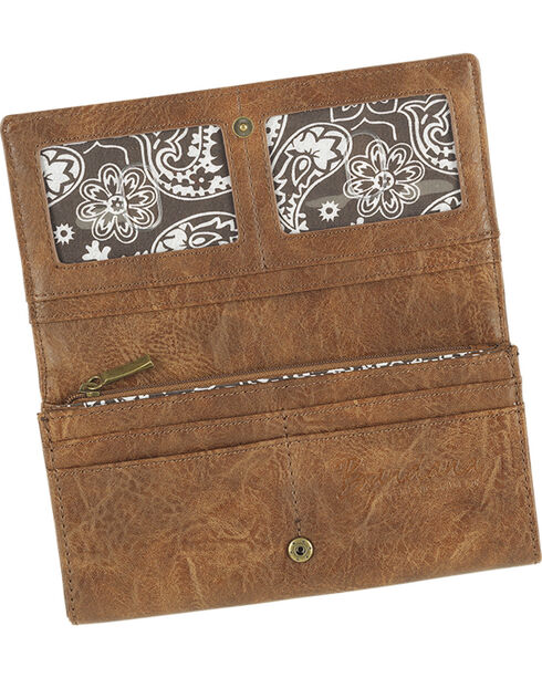 Bandana by American West Women's Guns and Roses Flap Wallet, , hi-res
