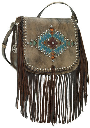 American West Pueblo Moon Fringe Crossbody Flap Bag, Dark Brown, hi-res