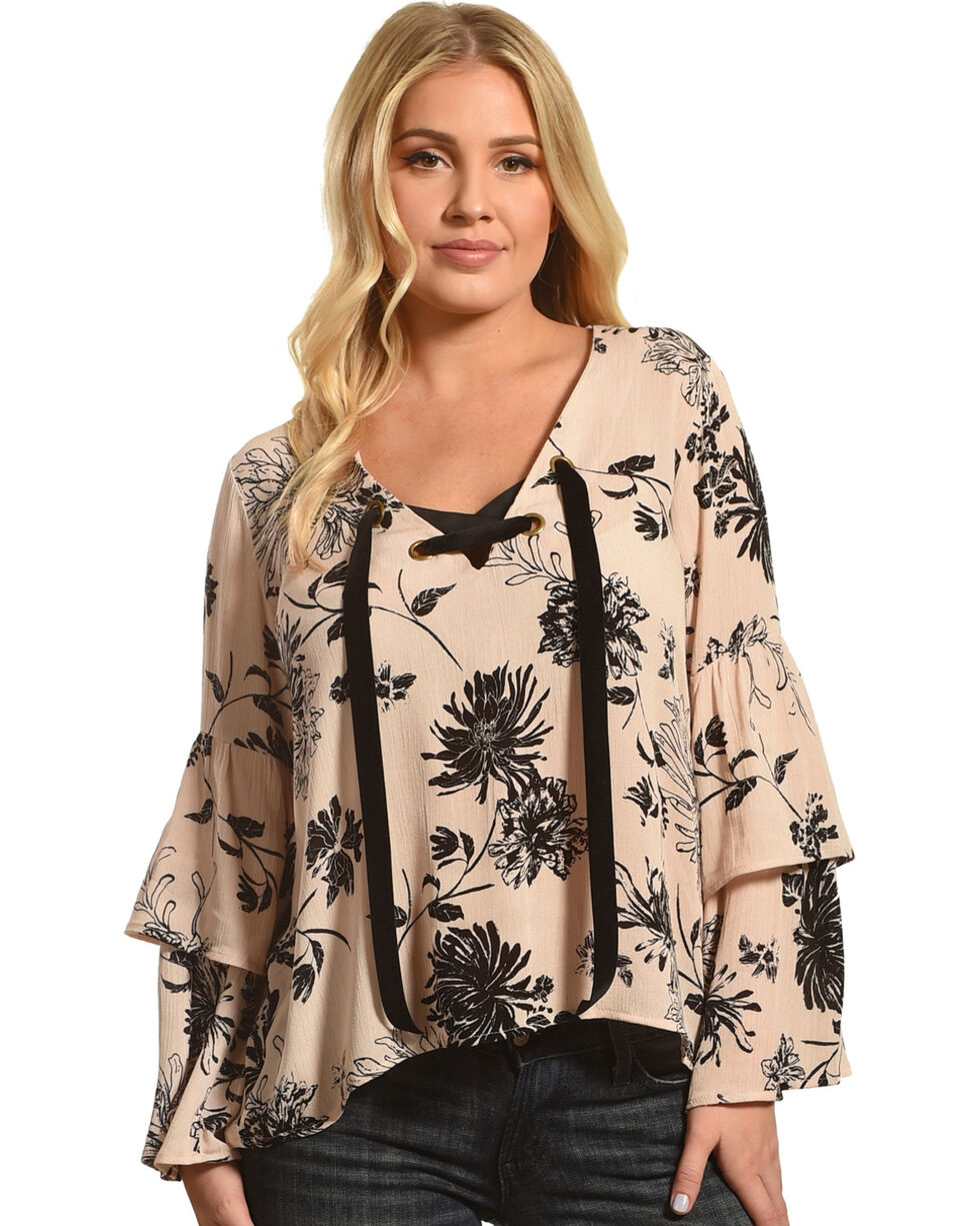 Ocean Drive Women's Ribbon Lace-Up Bell Sleeve Blouse, Taupe, hi-res