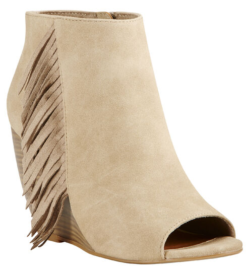 Ariat Women's Taupe Unbridled Jaycee Open Toe Booties, Taupe, hi-res
