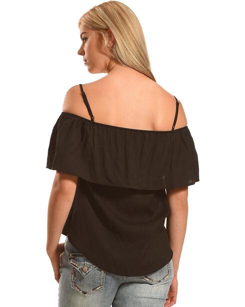 Polagram Women's Off The Shoulder Embroidered Top , Black, hi-res