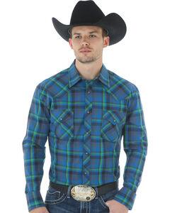Wrangler 20X Advanced Comfort Men's Blue Plaid Shirt, , hi-res