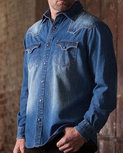 Ryan Michael Denim Blanket Stitch Western Shirt , , hi-res
