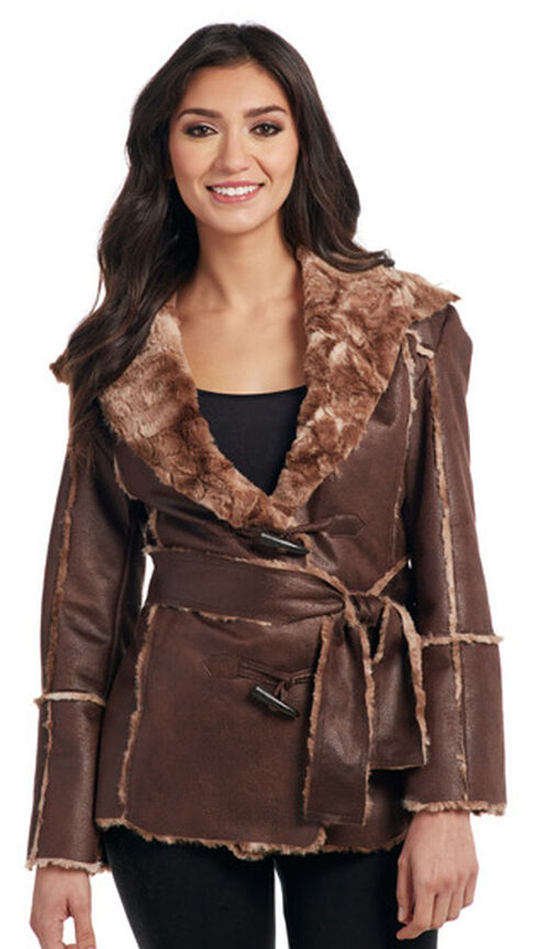 Cripple Creek Women's Brown Faux Fur Lining Waist Coat , Chestnut, hi-res