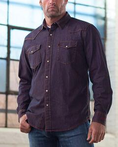 Ryan Michael Men's Indigo Pigment Dye Denim Western Shirt, , hi-res
