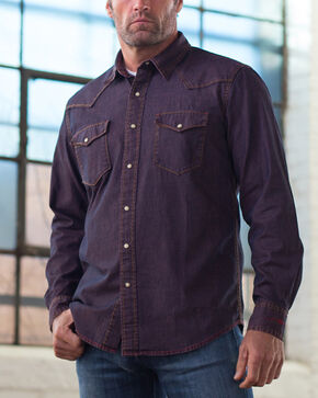 Ryan Michael Men's Indigo Pigment Dye Denim Western Shirt, Indigo, hi-res