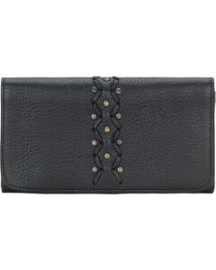 TrueLu Women's Black Leather Emily Wallet , Black, hi-res