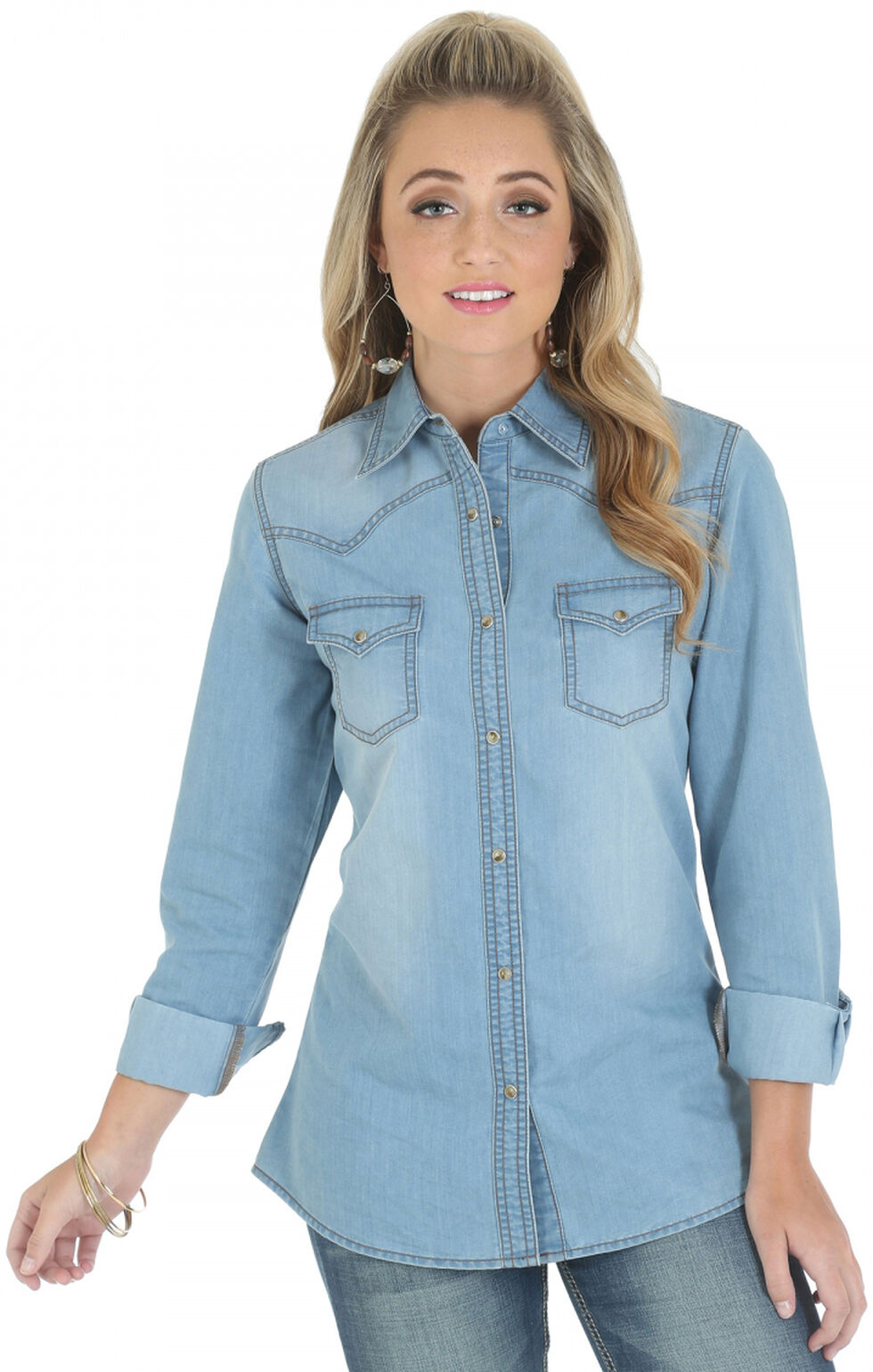 Wrangler Women's Premium Long Sleeve Denim Shirt, Stonewash, hi-res