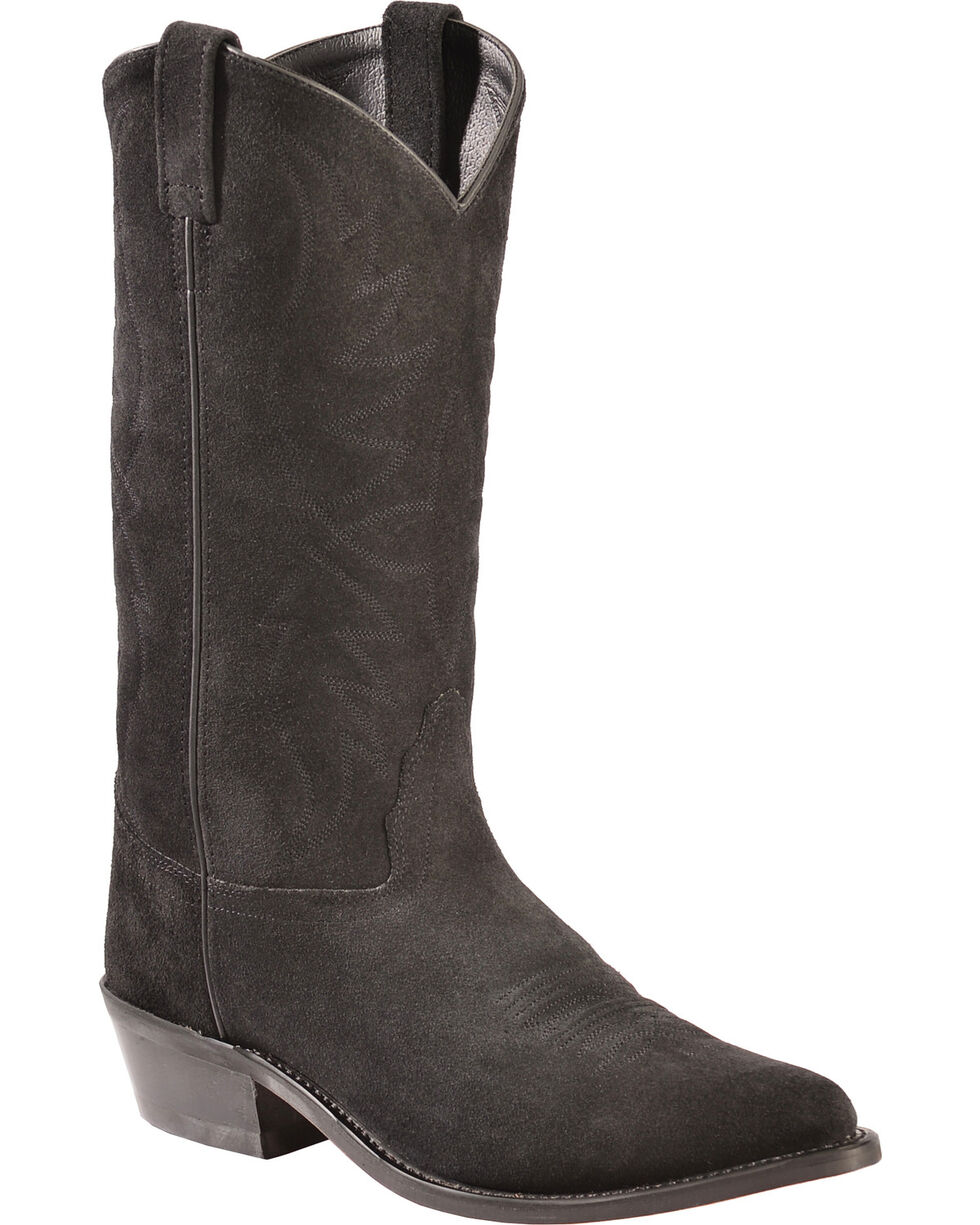 Old West Roughout Suede Cowboy Boots - Pointed Toe, Black, hi-res