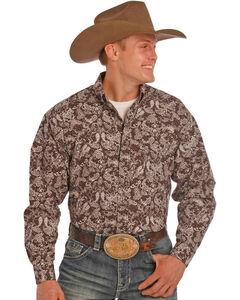 Tuf Cooper Performance Men's Brown Paisley Print Long Sleeve Shirt, Brown, hi-res