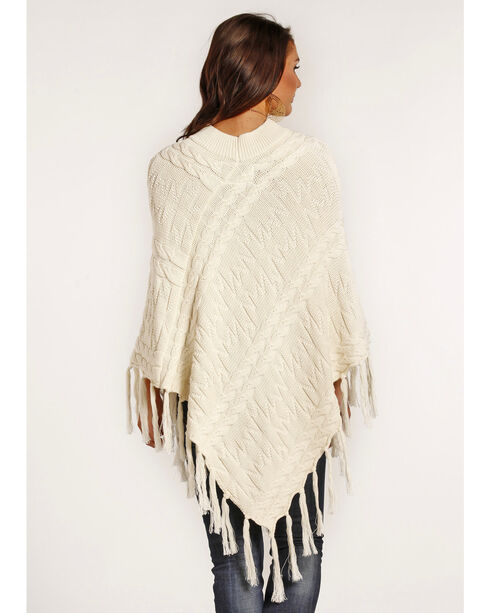 Powder River Outfitters Women's Cream Cable Knit Fringe Poncho, Cream, hi-res