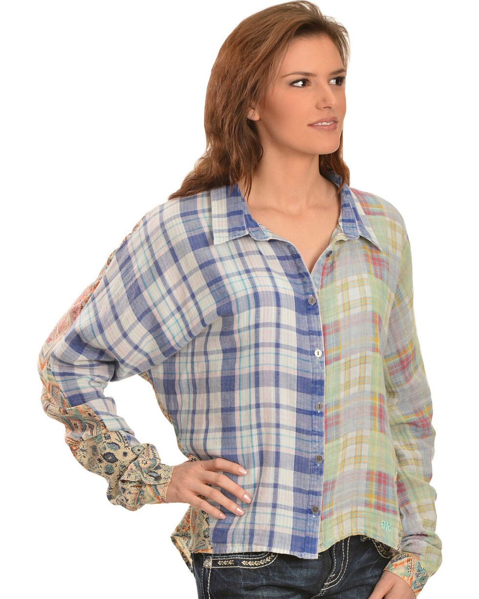 Miss Me Women's Mixed Media Plaid High-Low Top, Blue, hi-res