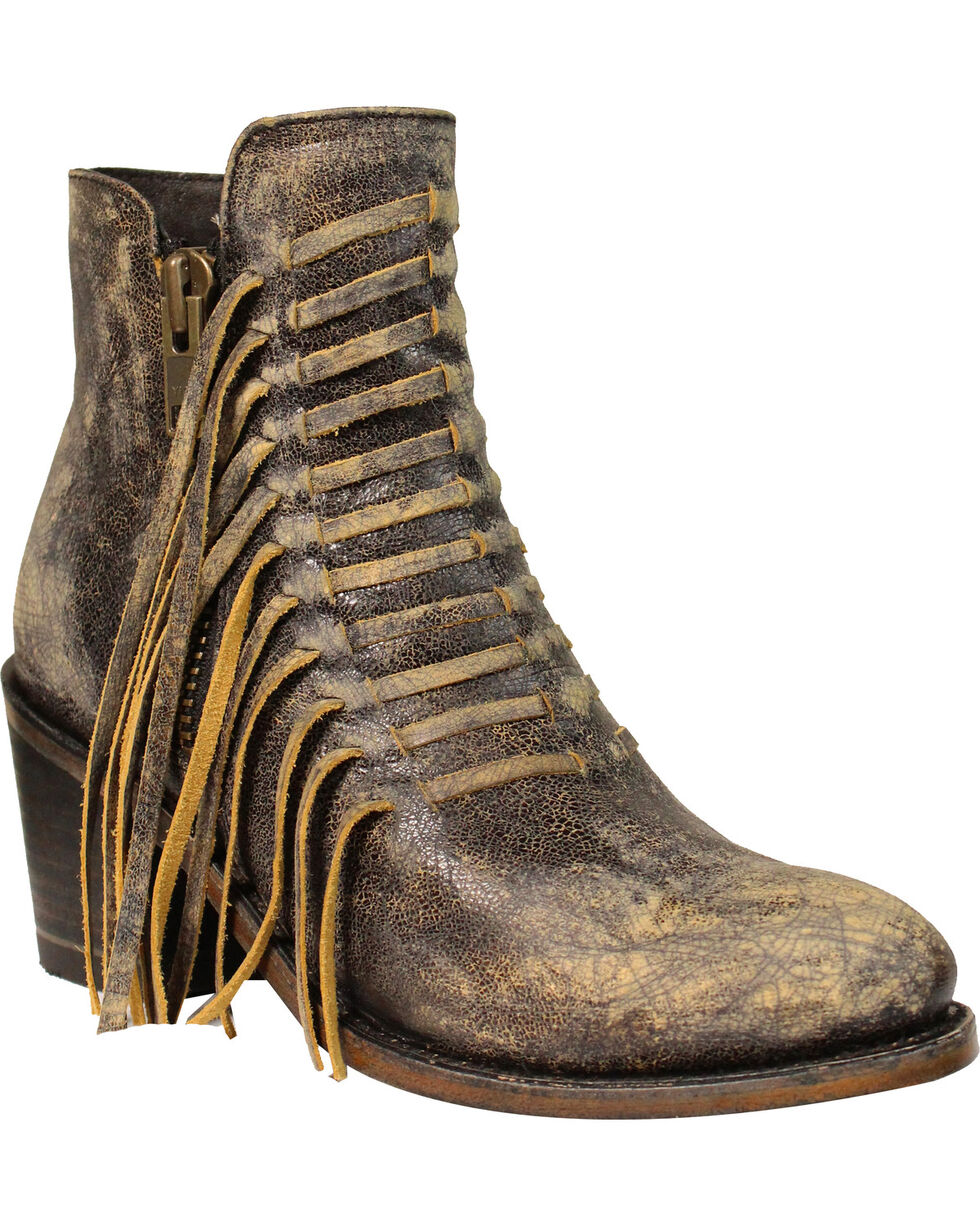 Circle G Women's Side Fringe Ankle Boots - Medium Toe , Black, hi-res