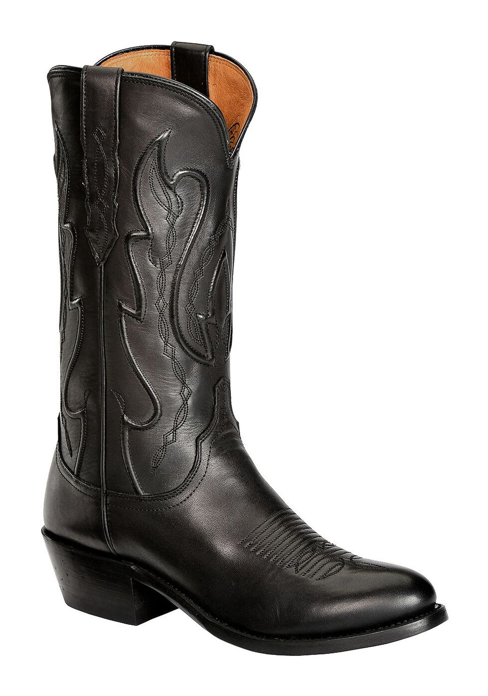 Lucchese Handmade 1883 Cole Ranch Hand Cowboy Boots - Medium Toe, Black, hi-res