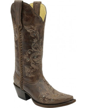 Corral Floral Whip Stitch Studded Cowgirl Boots - Snip Toe, Chocolate, hi-res
