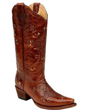 Circle G Diamond Embroidered Cowgirl Boots - Snip Toe, Cognac, hi-res
