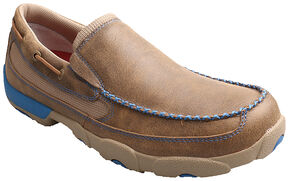 Twisted X Men's Brown and Blue Leather Driving Mocs, Saddle Brown, hi-res